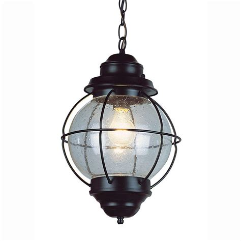 Bel Air Outdoor Lighting Bel Air Lighting Lighthouse 1 Light Outdoor Hanging Black Lantern With Seeded Glass 69903 Bk