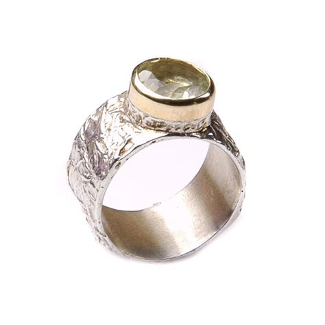 Bicolor Ringe by Breiter Bicolor Lemonquarz Ring Aus Sterling Silber 925