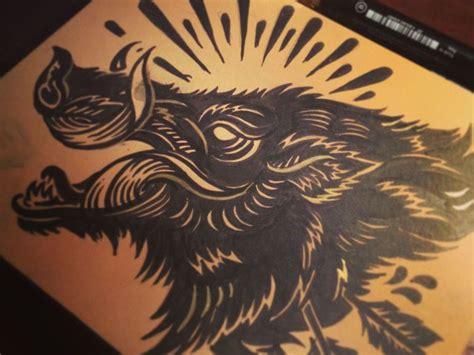hog tattoo design bush hog block print flash and