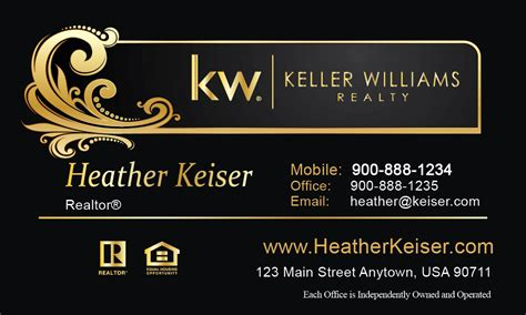 keller williams realty business card templates black keller williams business card design 103481