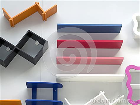 colored wall shelves colored wooden shelves on the wall stock photos image