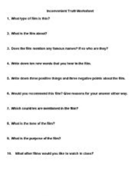 An Inconvenient Worksheet Answers by An Inconvenient Answer Sheet Search Engine