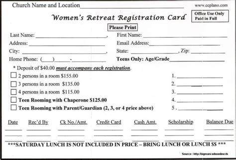 church volunteer info registration card template hotel receptionist application form form resume