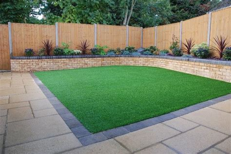 backyard grass ideas artificial grass laid in square back garden garden ideas