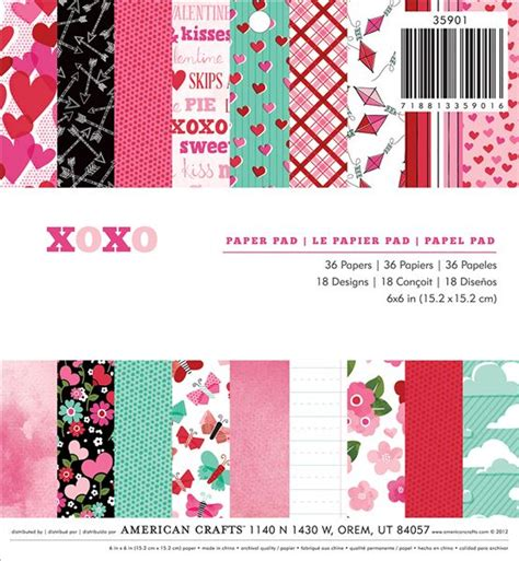 American Craft Paper - american crafts paper xoxo collection 6 x 6 paper pad