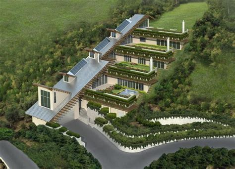 hill villa design echo of the past latest trends in green building of roof