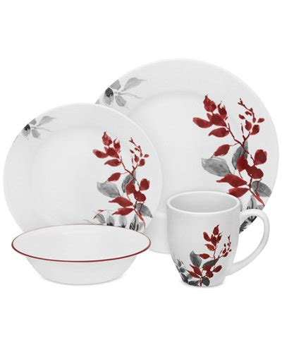 most popular corelle pattern corelle kyoto leaves round 16 pc set service for 4