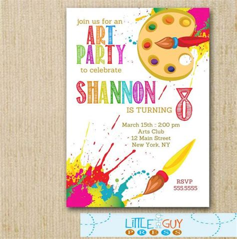 free printable art birthday invitations art birthday party invitations art party invitations