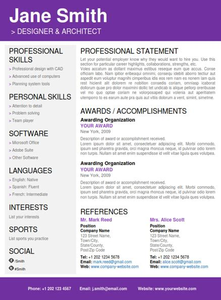 creative resume templates for word cv folio creative word resume templates