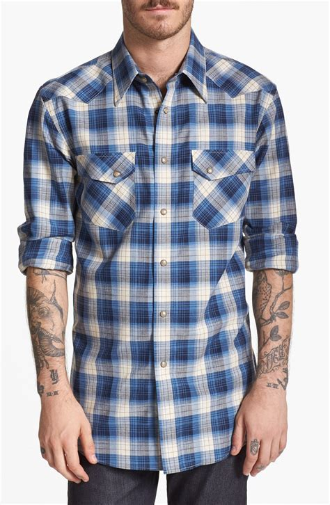 pendleton cotton wool plaid shirt in blue for