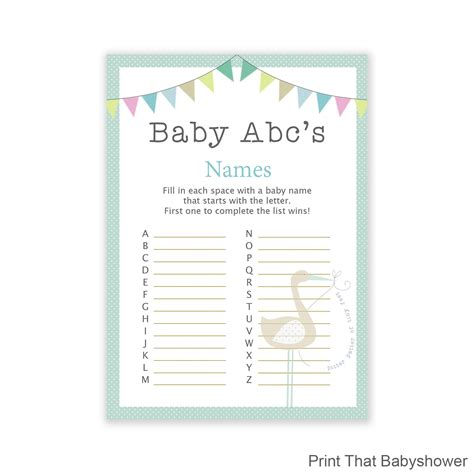 Baby Shower Name by Baby Shower Baby Name Abc Blue Stork Baby