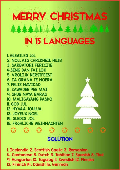 advent activity calendar day  merry christmas   languages  tuition