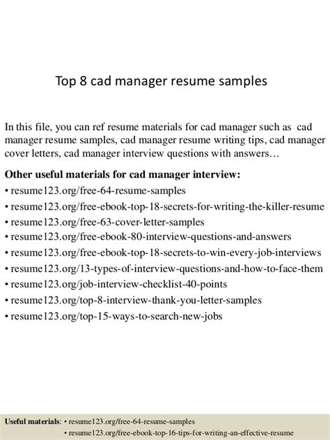 Autocad Manager Sle Resume by Top 8 Cad Manager Resume Sles