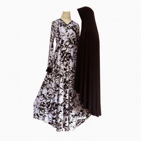 Syari Set B gamis set syari flowery white classic black white