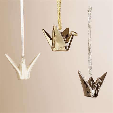 origami crane ornaments ceramic origami crane ornaments set of 3 world market