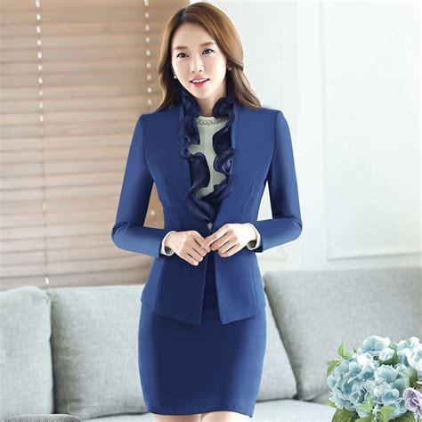 Set Blazer Seragam Guru 1 aliexpress buy 2017 new korean fashion office designs ruffles skirt suits 2