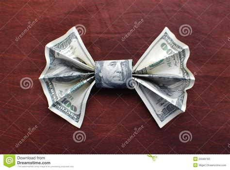 Origami Dollar Bill Bow Tie - origami bow tie stock photos image 20589783