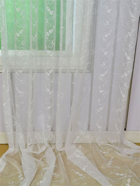 white sheer eyelet curtains gingera vine floral embroidered eyelet sheer curtains
