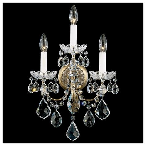 Wall Sconce With Crystals schonbek new orleans collection 3 light wall