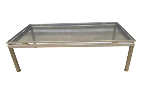 brushed steel coffee table modernist brushed steel coffee table by guy lefevre for