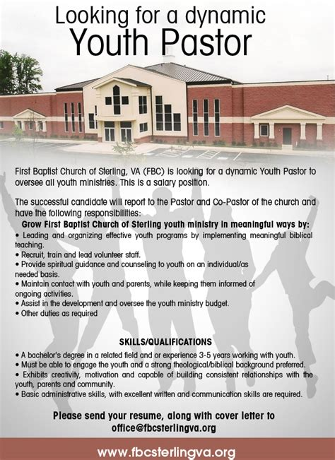 Letter For Youth Ministry Events Looking For A Youth Pastor