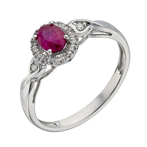 sterling silver treated ruby twist ring h samuel