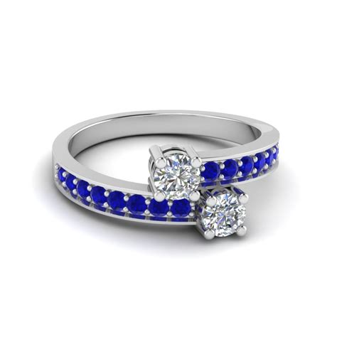 cut 2 blue sapphire rings in 14k white gold