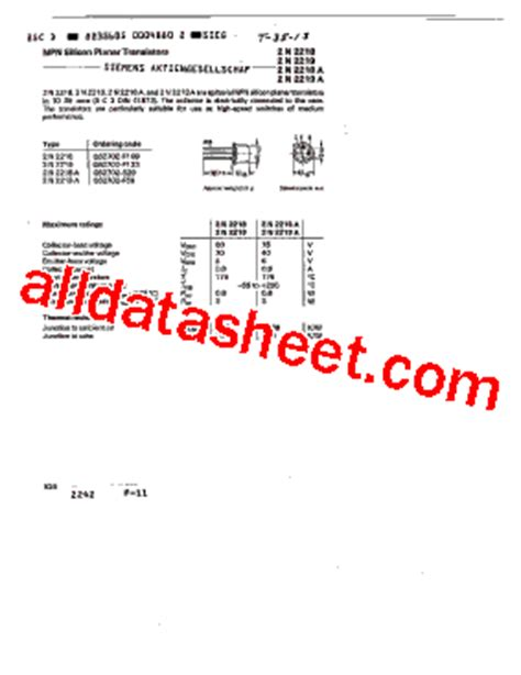 Quality Transistor Tr 2n2219 2n2219a 2n 2219 A Npn New 2n2219a datasheet pdf siemens semiconductor