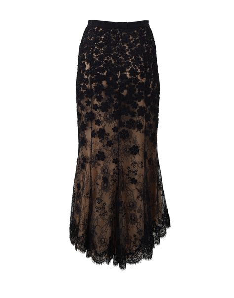 oscar de la renta high low lace skirt in black lyst