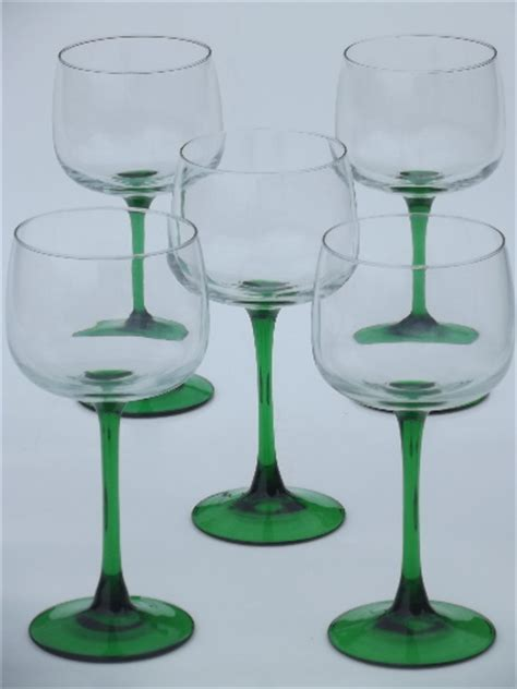 wine glass without stem emerald green stem hock wine glasses cris d arques french