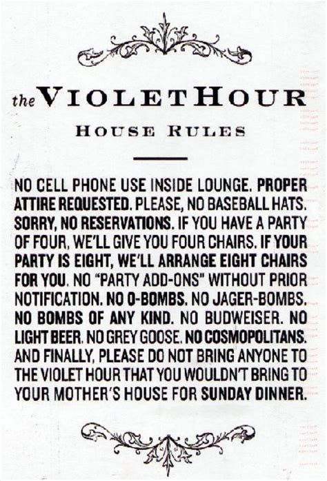 house rules style poll the bar with strict house rules