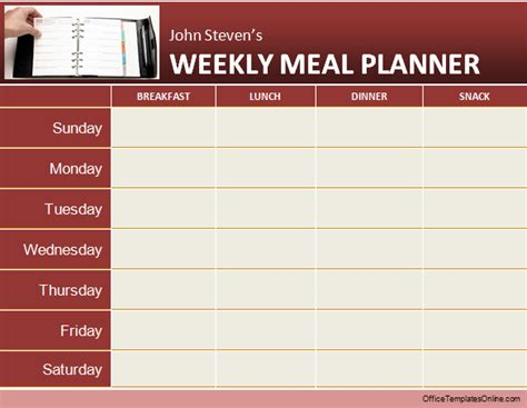 weekly menu planner template word daily weekly ms word planner templates office