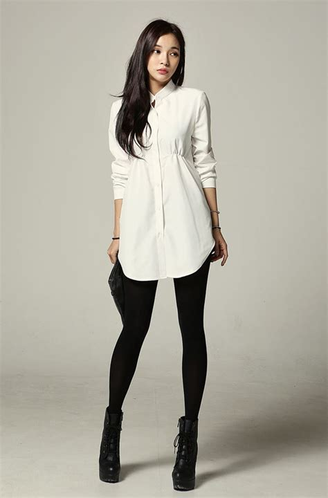 chic look by a tunic type shirt dress paired with and boots fashion