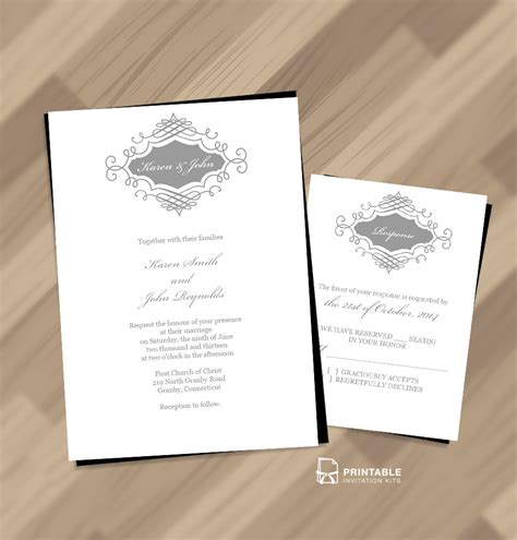 invitation templates printable beautiful wedding monogram free invitation and rsvp