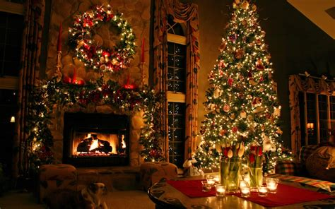 wallpaper dog candle ornament fireplace fir tree room