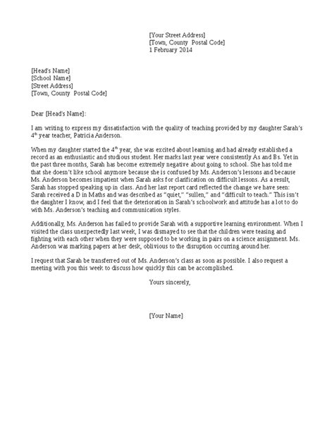 Complaint Letter Professor How To Write A Formal Complaint Letter School Cover Letter Templates
