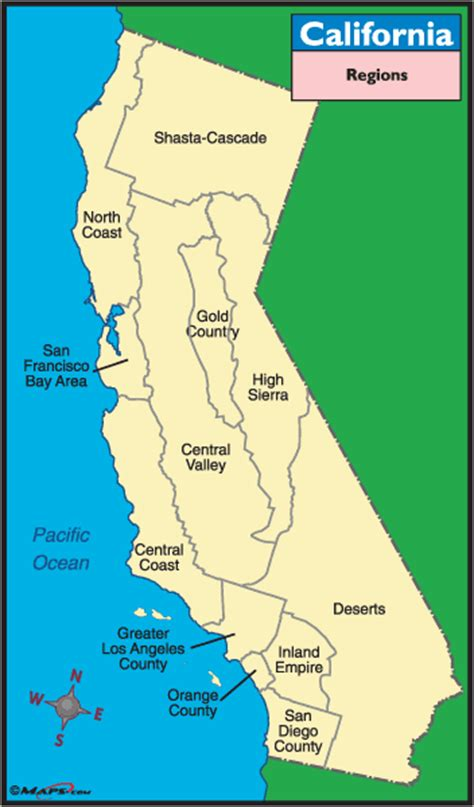 california map labeled california regions map images