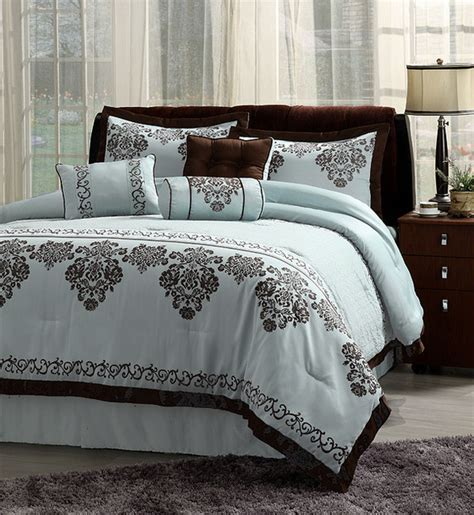 Blue And Brown Duvet Cover Fontaine Blue With Chocolate Brown Trim 7 Comforter