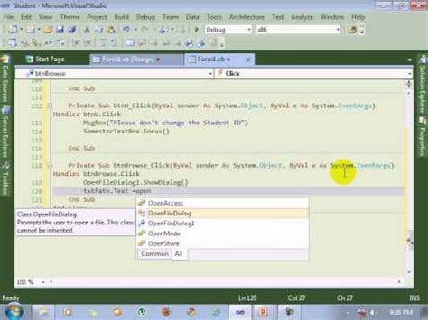 tutorial visual studio 2010 youtube visual studio 2010 tutorial coding of image browse youtube