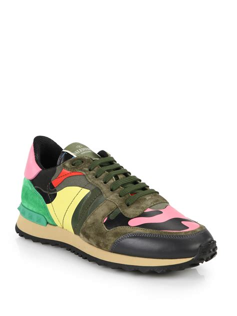 valentino camo sneakers lyst valentino mixed media camouflage sneakers for