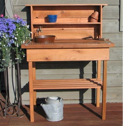 potting bench with sink potting bench faucet sink shelf