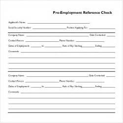 pre employment application template sle reference check template 14 free documents in