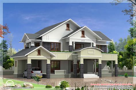 4 room house 4 bedroom sloped roof house in 2900 sq feet kerala house design idea