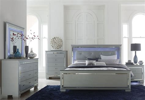 lighted headboard bedroom set 4 pc homelegance allura collection king size bedroom set