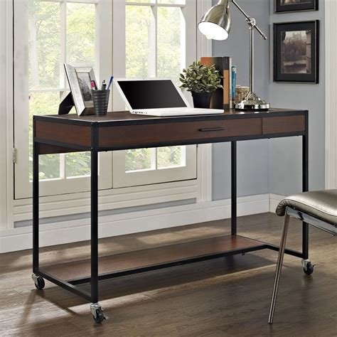 industrial writing desk office furniture drawer wood metal
