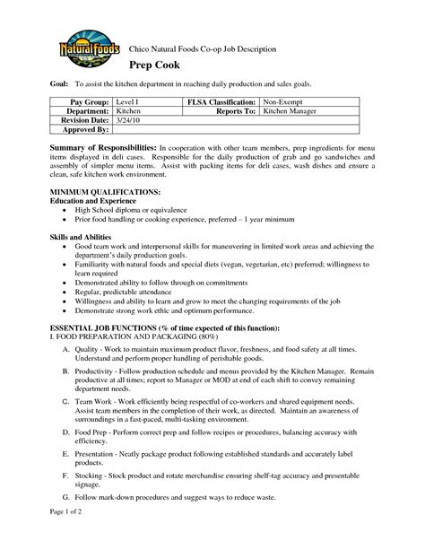 prep cook resume exles resume store 21 sle for manager pertaining to sles