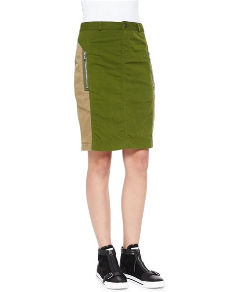 marc by marc army pencil skirt in green army