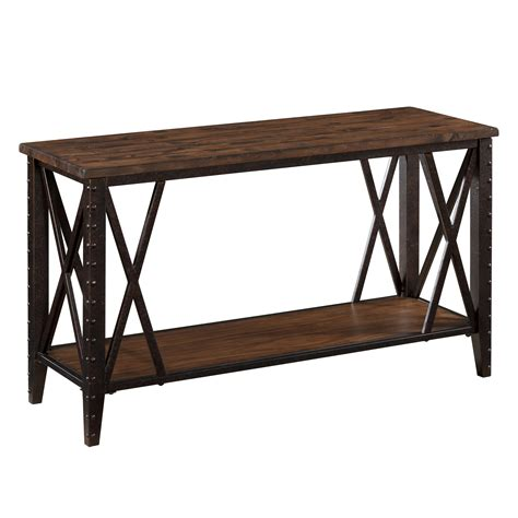 sofa table metal magnussen fleming wood and metal sofa table rustic pine