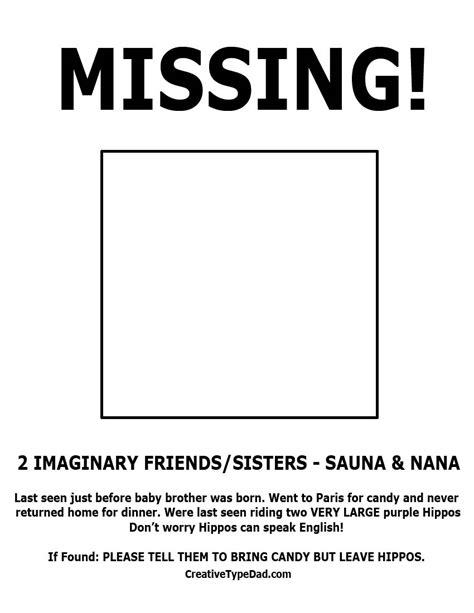 lost template creative type missing my s 2 imaginary friends