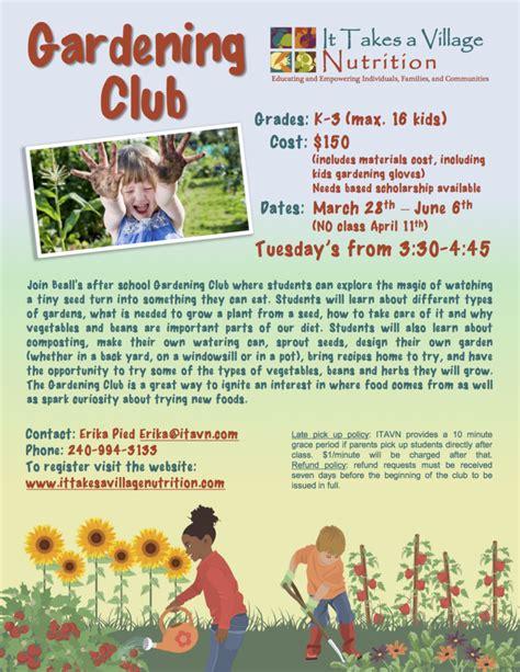 School Gardening Club Ideas Beall Elementary School Gardening Club It Takes A Nutrition